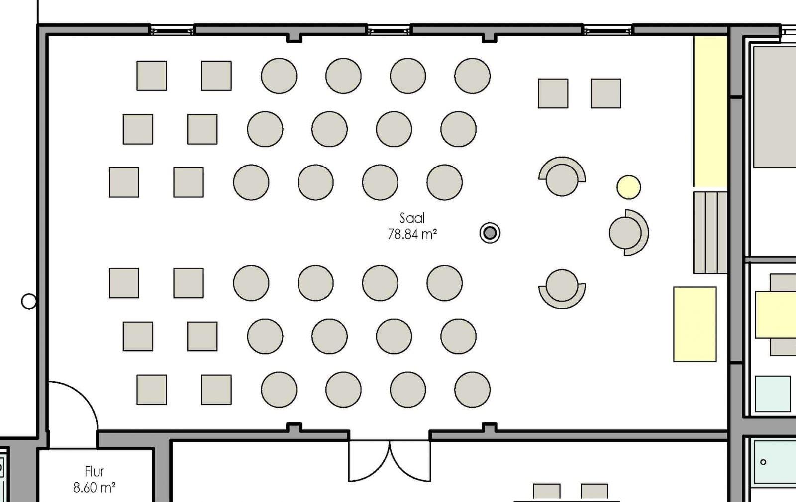 Grundriss Saal im Seminarhaus Haus in Bewegung| Haus in Bewegung