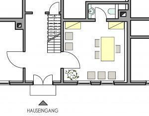Grundriss kleines Trauzimmer im Haus in Bewegung  Haus in Bewegung